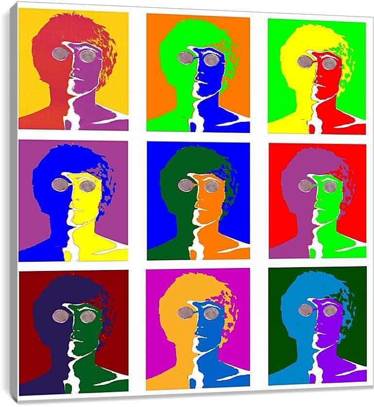 John lennon. Поп-артКоллаж<br>Модульная картина из 2 частей . Любые размеры и конфигурации на выбор. Материал печати: натуральный холст.<br>Размер: 90x90 см., 120x120 см., 150x150 см.;