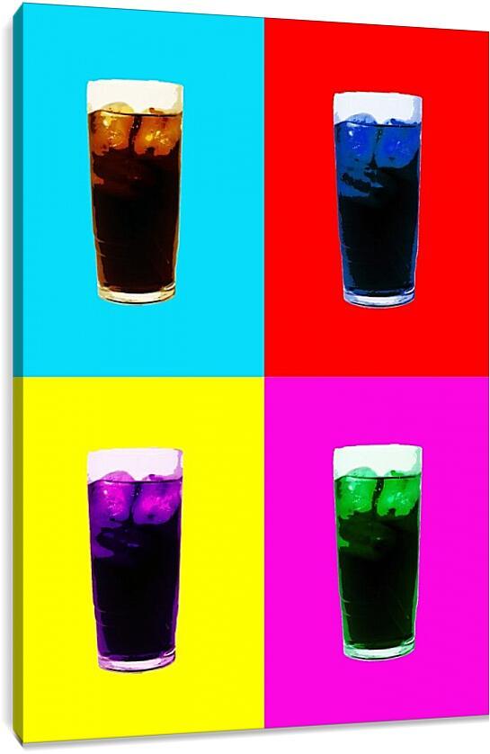 Поп-арт. НапиткиКоллаж<br>Модульная картина из 3 частей . Любые размеры и конфигурации на выбор. Материал печати: натуральный холст.<br>Размер: 64x90 см., 85x120 см., 106x150 см.;