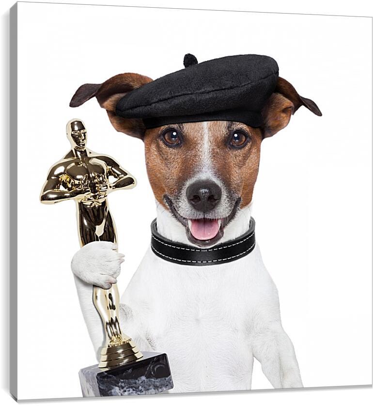 Собака получила премию  ОскарЮмор<br>Модульная картина из 5 частей . Любые размеры и конфигурации на выбор. Материал печати: натуральный холст.<br>Размер: 90x90 см., 120x120 см., 150x150 см.;
