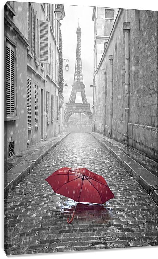 Красный зонт на фоне Эйфелевой башниСтраны<br>Модульная картина из 3 частей . Любые размеры и конфигурации на выбор. Материал печати: натуральный холст.<br>Размер: 60x90 см., 80x120 см., 100x150 см.;