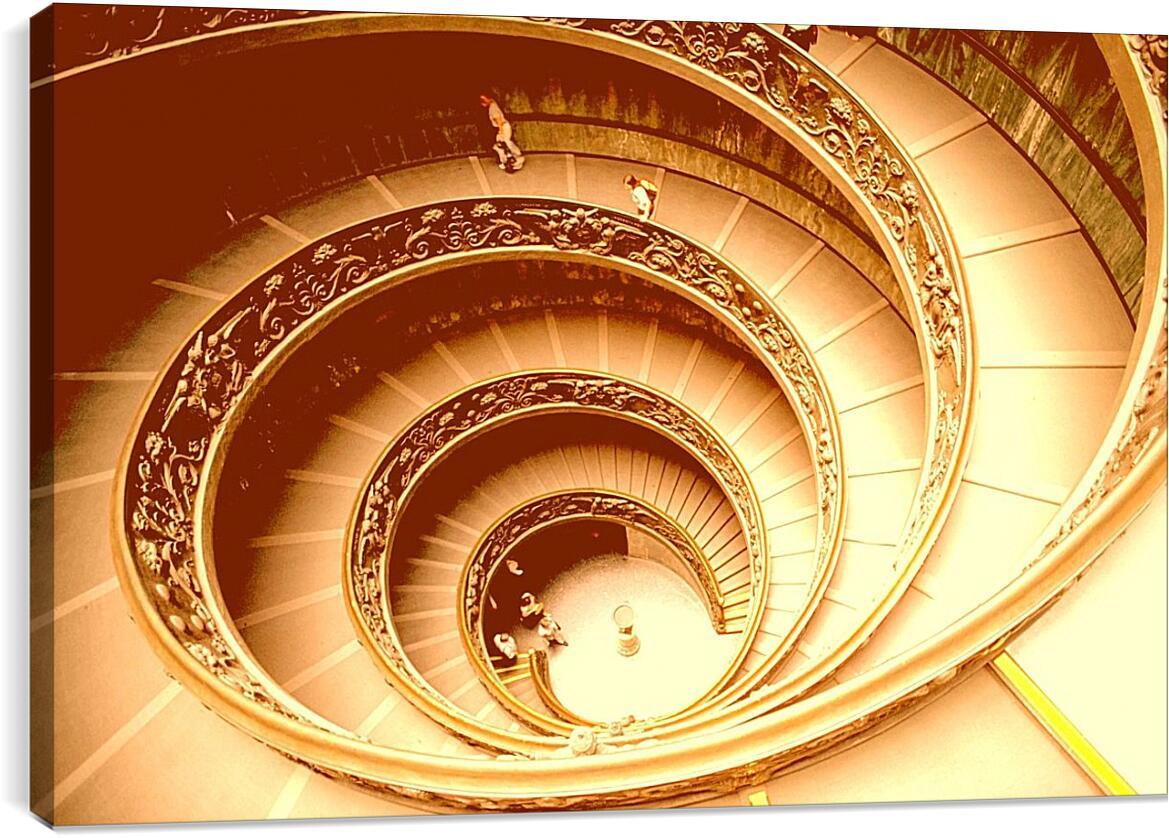 Лестница ВатиканАрхитектура<br>Модульная картина из 2 частей . Любые размеры и конфигурации на выбор. Материал печати: натуральный холст.<br>Размер: 90x59 см., 120x79 см., 150x99 см.;