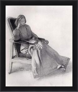 Картина в раме - Portrait of Elizabeth Siddal, Reading. Данте Габриэль Россетти